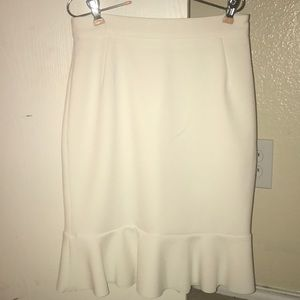 Cream ruffle pencil skirt